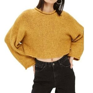 TOPSHOP Mustard Cropped Knit Sweater